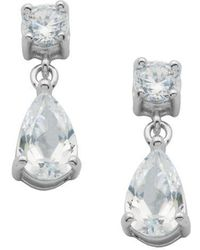 Lord & Taylor - Platinum Plated-sterling Silver Cubic Zirconia Drop Earrings - Lyst