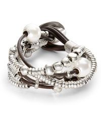 Uno De 50 Pearl And Bead Layered Bracelet - Metallic
