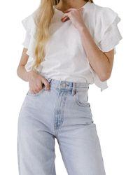 Endless Rose Textured Ruffle Sleeve T-shirt - White