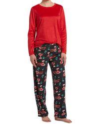 Hue ® Sueded Fleece Top & Printed Pants Holiday Pajama Set - Red