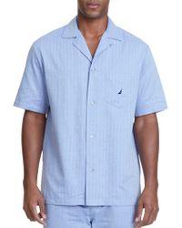 Nautica Herringbone Plaid Pyjama Shirt - Blue