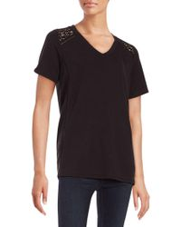 Lord & Taylor   Crocheted Shoulder Tee   Lyst