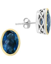 Effy - 925 Sterling Silver And 18k Gold Plated Malachite Stud Earrings - Lyst