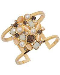 Vince Camuto - Goldtone And Glass Stone Cluster Cuff Bracelet - Lyst