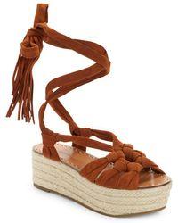 5485e472fec Cosie Lace-up Suede Espadrille Platform Sandals - Brown