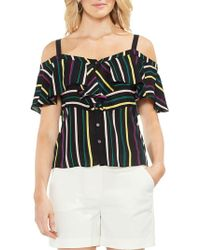 Vince Camuto - Petite Topic Heat Paradise Multicolored Striped Blouse - Lyst
