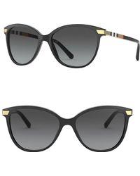 23688a79ab Lyst - Burberry 57mm Cat Eye Sunglasses in Black