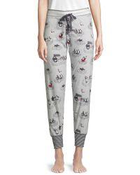 Pj Salvage Penguin-print Velour Pyjama Trousers - Gray