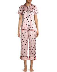 Kate Spade Dotted Short-sleeve Pj Set - Pink