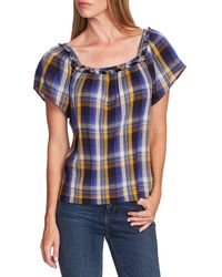 Two By Vince Camuto Highland Sunset Plaid Cotton Blend Blouse - Blue