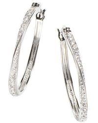 Lord & Taylor - Sterling Silver Hoop Earrings - Lyst