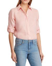 Lauren by Ralph Lauren - Wo Light Pink 100% Linen Shirt - Lyst