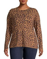 Lord & Taylor - Plus Long-sleeve Leopard Print Top - Lyst