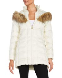 Betsey Johnson - Faux Fur-trimmed Hooded Mid Length Puffer Coat - Lyst
