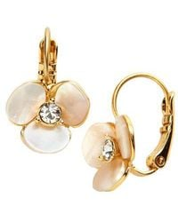 Kate Spade Disco Pansy Mother-of-pearl Leverback Earrings - Metallic