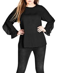 City Chic - Frill Me Layered Sleeve Woven Top - Lyst