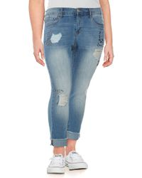 Jessica Simpson Plus Mika Best Friend Embellished Jeans - Blue
