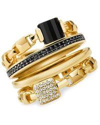 Michael Kors Frozen Link 14k Goldplated Multi-stone Stackable Ring - Metallic