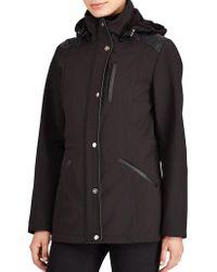 Lauren by Ralph Lauren - Faux Leather Trim Hooded Coat - Lyst