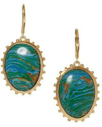 Sole Society - Goldtone And Chrysocolla Leverback Drop Earrings - Lyst