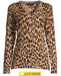 Lord + Taylor Leopard V-neck Wool Jumper - Black