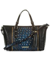 Brahmin Mini Lazuli Melbourne Asher Embossed Leather Crossbody Bag - Black