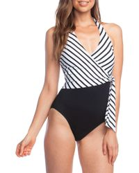 74c2e1d82a8c DKNY One Shoulder Asymmetrical Cut Out Swimsuit in Red - Lyst