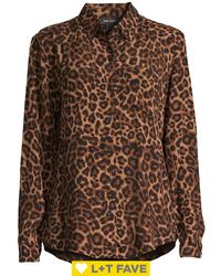 Lord + Taylor Animal-printed Button Blouse - Black
