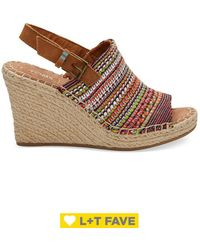 TOMS Women's Monica Global Woven-print Canvas Wedge Espadrilles - Brown