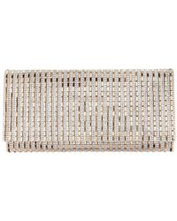 Nina Chicago Crystal Striped Convertible Clutch - Metallic