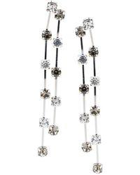 Kenneth Jay Lane - Silvertone Crystal Linear Earrings - Lyst