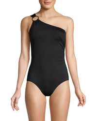 MICHAEL Michael Kors Iconic Solids One Shoulder One-piece - Black