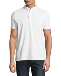 SELECTED - Textured Stretch-cotton Henley - Lyst