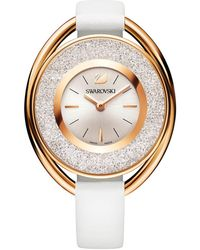 Swarovski - 18k Rose-goldplated Crystalline Oval White Leather Strap Watch - Lyst