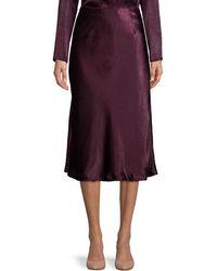 Halston Bias Ruffled Satin Skirt - Purple