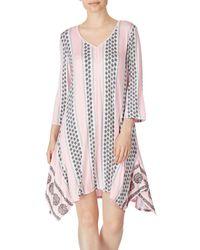 Ellen Tracy Floral-print V-neck Tunic - Pink