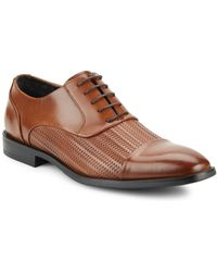Kenneth Cole - Ticket Balance Woven Leather Oxfords - Lyst