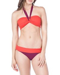 Lauren by Ralph Lauren - Glamour Color Block Bandeau Bikini Top - Lyst