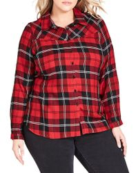 City Chic - Trendy Plus Size Plaid Shirt - Lyst