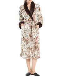 N Natori - Snow Leopard Print Wrap Robe - Lyst