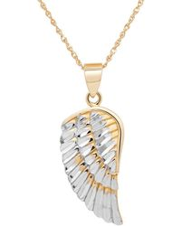 Lord + Taylor 14k Yellow-gold Angel Wing Pendant Necklace - Metallic