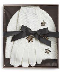 BCBGMAXAZRIA - Three-piece Stars Merino Gloves And Hat Set - Lyst