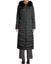 Calvin Klein Faux Fur Trim Maxi Puffer Coat - Black