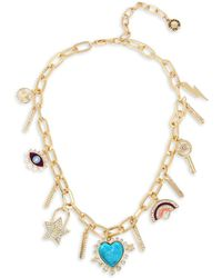 BCBGeneration Starry Eyed Stone Heart Multi Charm Frontal Necklace - Metallic