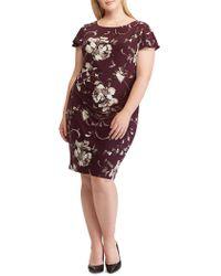Lauren by Ralph Lauren - Plus Size Floral Print Jersey Sheath Dress - Lyst