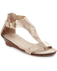 75767404f4c0 Jessica Simpson Kalie Zippered Thong Sandals in Metallic - Lyst