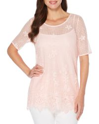 Rafaella - Petite Lace-embroidered Top With Camisole - Lyst
