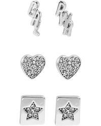 BCBGeneration 3-pair Silvertone Girl Power Affirmation Stud Earrings Set - Metallic