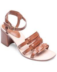 Bernardo - Santina Leather Woven Strap Block Heel Sandals - Lyst