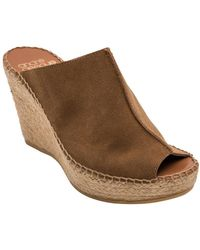 Andre Assous Cici Suede Espadrille Wedge Mules - Brown